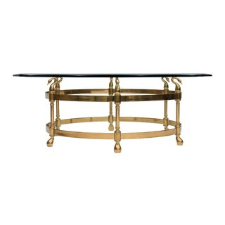 Brass & Glass Coffee Table With Swan Heads
