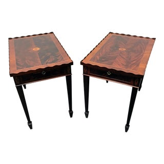 Hekman Copley Place Federal Style Inlaid Flame Mahogany Tea Tables - a Pair