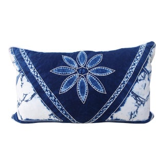 Rectangular Blue & White Batik Floral Pillow