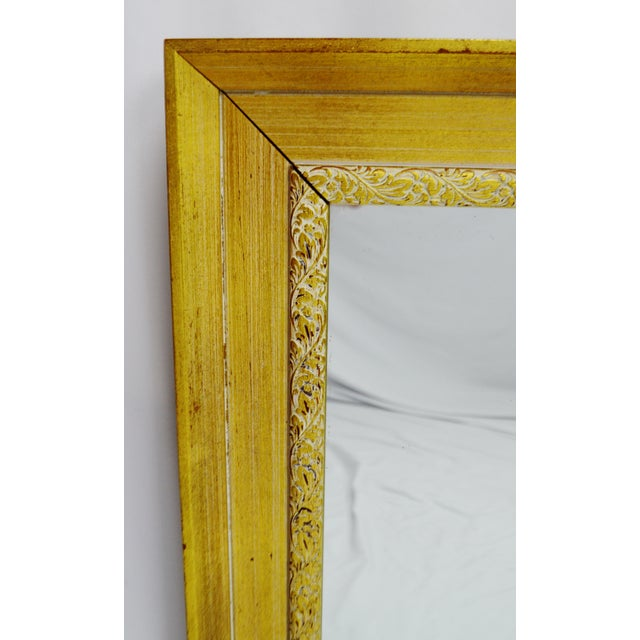Vintage gold and white striated paint framed mirror chairish for White and gold mirror