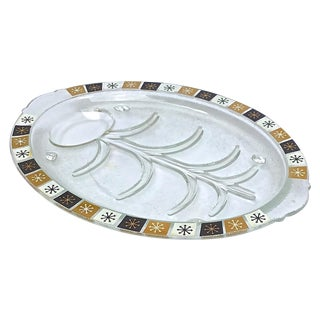 Mid-Century Modern Glass Roast Serving Platter
