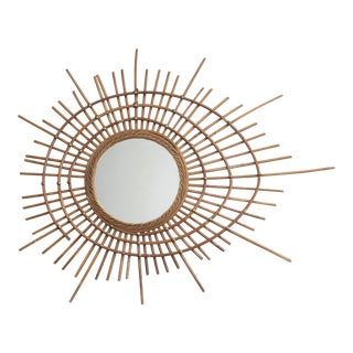 Vintage French Rattan Mirror