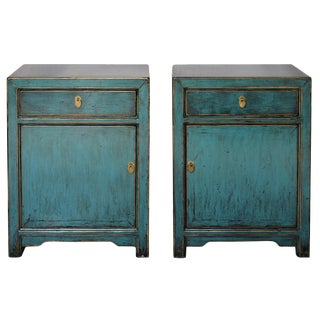 Blue Lacquer Nightstands - A Pair