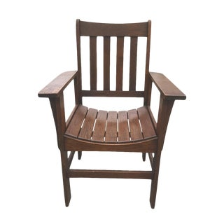 Antique Stickley Roycroft Era Arts & Crafts Mission Oak Accent Parlor Chair