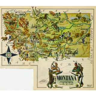 Vintage Montana Pictorial Map, 1946