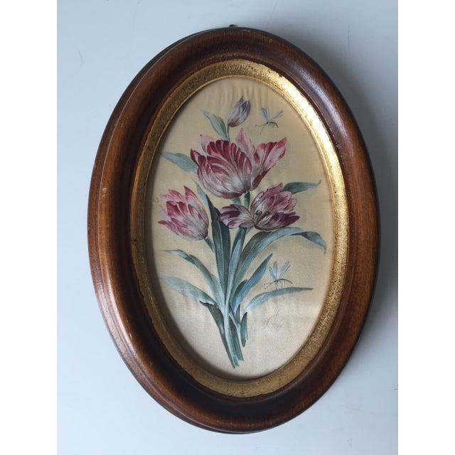 2 Vintage Florentine Framed Silk Botanicals - Image 3 of 7