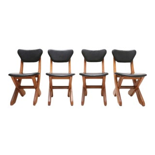 Scandinavian Set of Pine and Leather Chairs