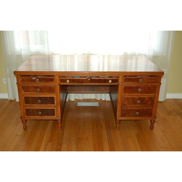 Early 1900's Mahogany Partner Desk by CF Roth - Image 2 of 9