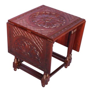 Hand Carved Mahogany Drop Leaf Gateleg Table