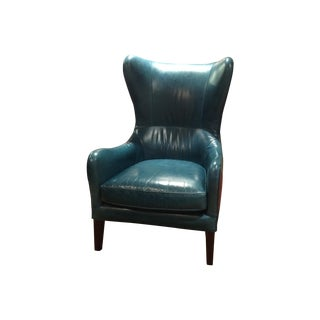Crate & Barrel Teal Garbo Leather Wingback Chair