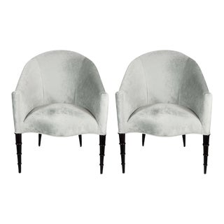 Pair of Hollywood Regency Gondola Chairs with Sculptural Legs