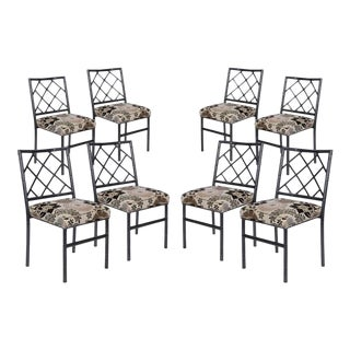 Cast Metal Bamboo Dining Chairs - Set of 8