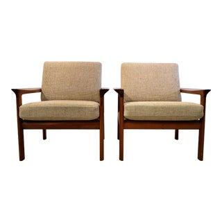 Sven Ellekaer Mid Century Teak Lounge Chairs