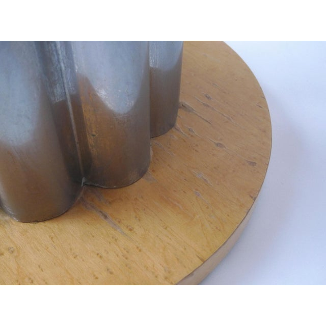 Image of Deco Style Round Chrome & Sycamore Side Tables - A Pair