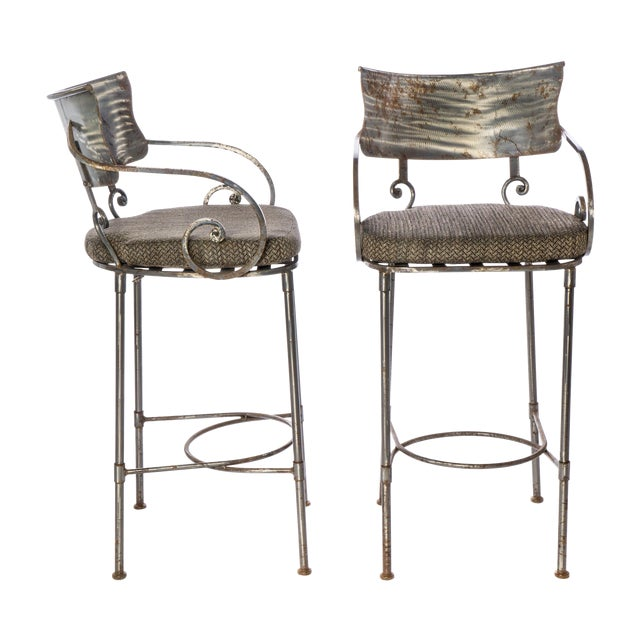 Image of Steel Bar Stools - A Pair