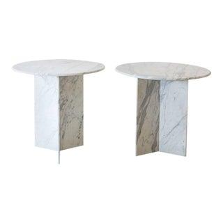 Stately Pair of Italian Carrara Marble Tables, Italy, 1970s