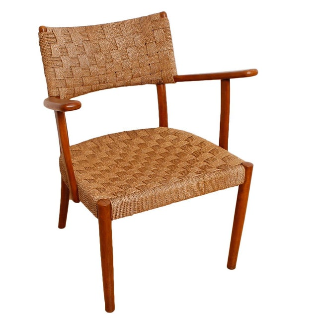 Fritz Hansen 1930's Woven Rope Chair & Ottoman - Image 5 of 6