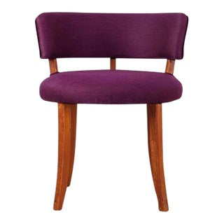 Danish Teak and Purple Wool Side Chair with Curved Backrest, 1940s