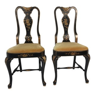 Chinoiserie Velvet & Tole Chairs - A Pair