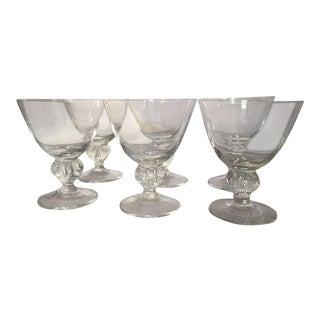 Mid-Century Clear Glass Ball Stem Bar Glasses - Set of 6