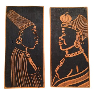 African Warrior Woodcut Plates - A Pair