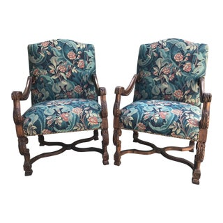 Italianate Upholstered Armchairs - A Pair