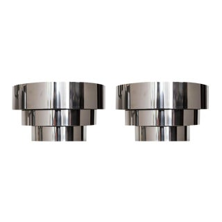 Lightolier Chrome 3 Tier Sconces - A Pair