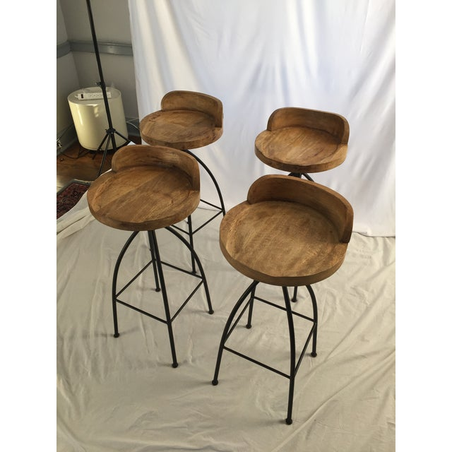 Wood and Iron Bar Stools - Set of 4 - Image 3 of 3