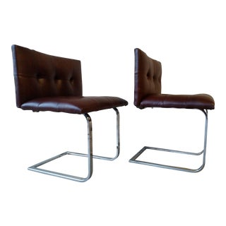 Jabraun Tufted Brown Leather Chairs - A Pair