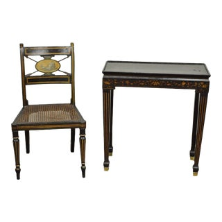 Antique Neoclassical Black Lacquered Desk Telephone Table Stand & Accent Chair