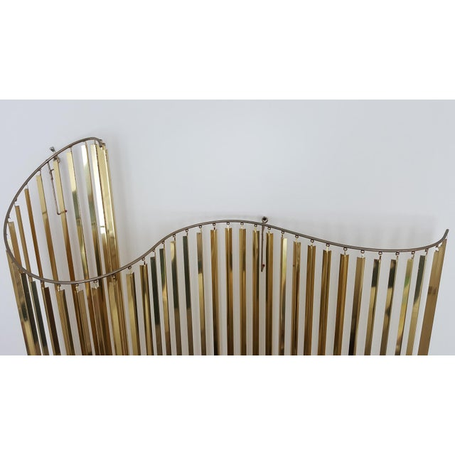 Image of Curtis Jere Kinetic Wave Form Chrome & Brass Wall Sculpture