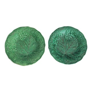 Early Majolica Leaf & Grape Plates - a Pair