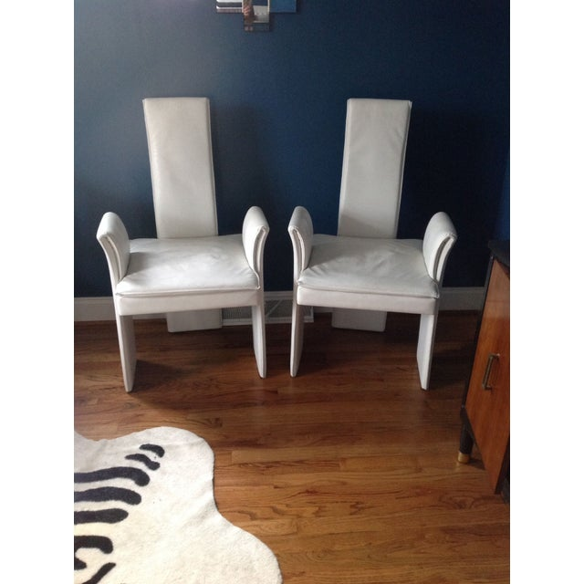 Vintage White Leather Chairs - A Pair - Image 2 of 4