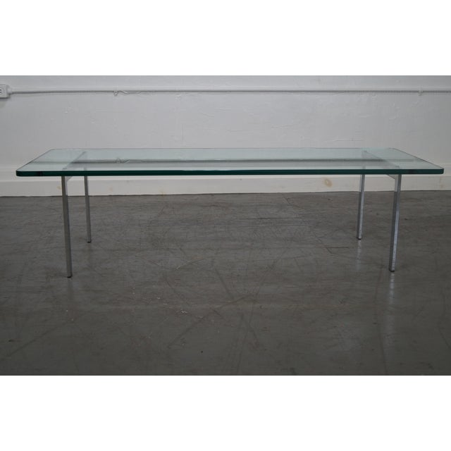 Milo Baughman Style Chrome Glass Top Coffee Table