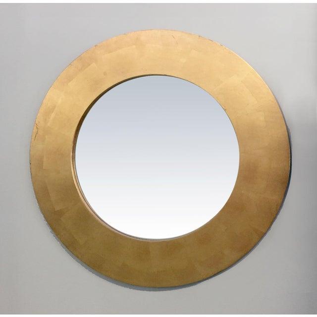 Image of Round Gold Leaf Framed Mirror
