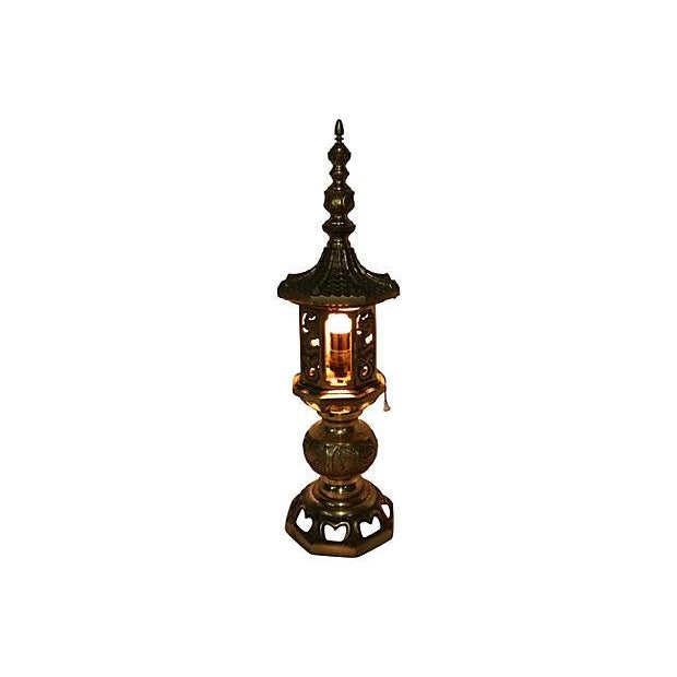 Image of Vintage Pagoda Brass Table Lamps - A Pair