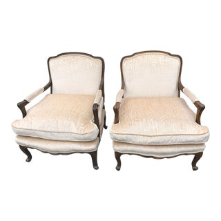 Wooden Framed Bergere Style Chairs - A Pair