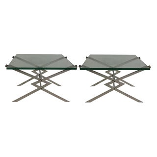 Mid Century Stainless Steel Side Tables - Pair