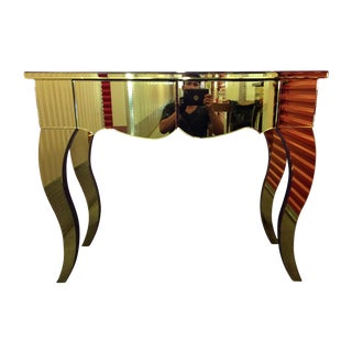 Gold Beveled Mirror 2 Drawer Console Table