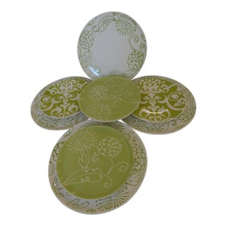 6 Green/White Vietri Fresco With 2 Green Baroque Brazilian Plates - Set of 8