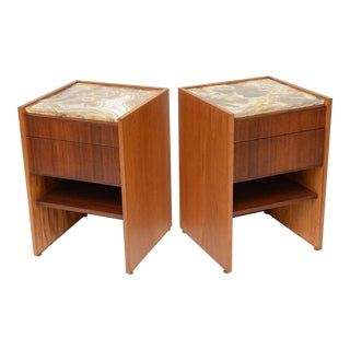 Superb Bespoke Palm Bay Teak Oak Onyx Bedside Tables