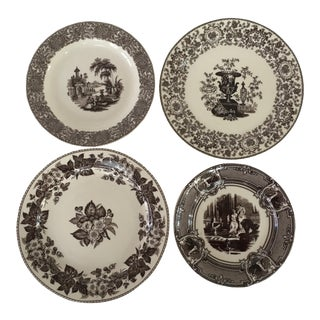 Brown Transferware Wall Plates - Set of 4