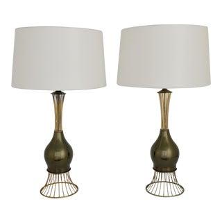 Mid-Century Modern Brass & Bronze Mathieu Matégot Inspired Table Lamps - a Pair