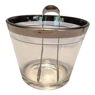 Vintage Platinum Rim Crystal Ice Bucket & Stainless Steel Tongs