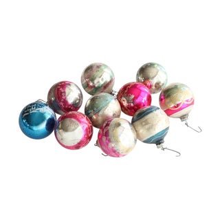 Mid-Century Vintage Glass Ornaments - Set of 10