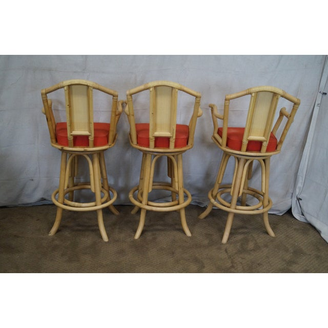 Vintage Bent Bamboo & Rattan Swivel Bar Stools -- Set of 3 - Image 4 of 10