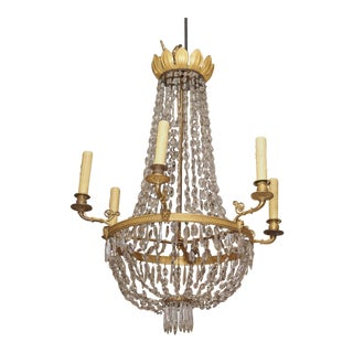 19th Century Bronze and Crystal Chandelier