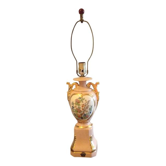 Vintage Blush Colored Deena China Lamp - Image 1 of 11