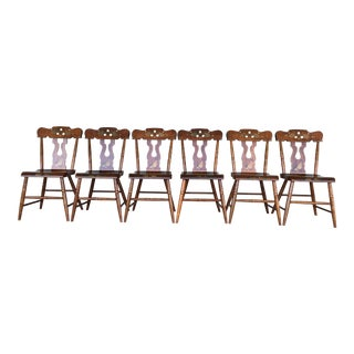 Set of 6 Maple Paint Decorated Country Side Chairs by L.B. Ebersol c. 1967