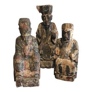 Vintage Wood Carved Man Statues - Set of 3
